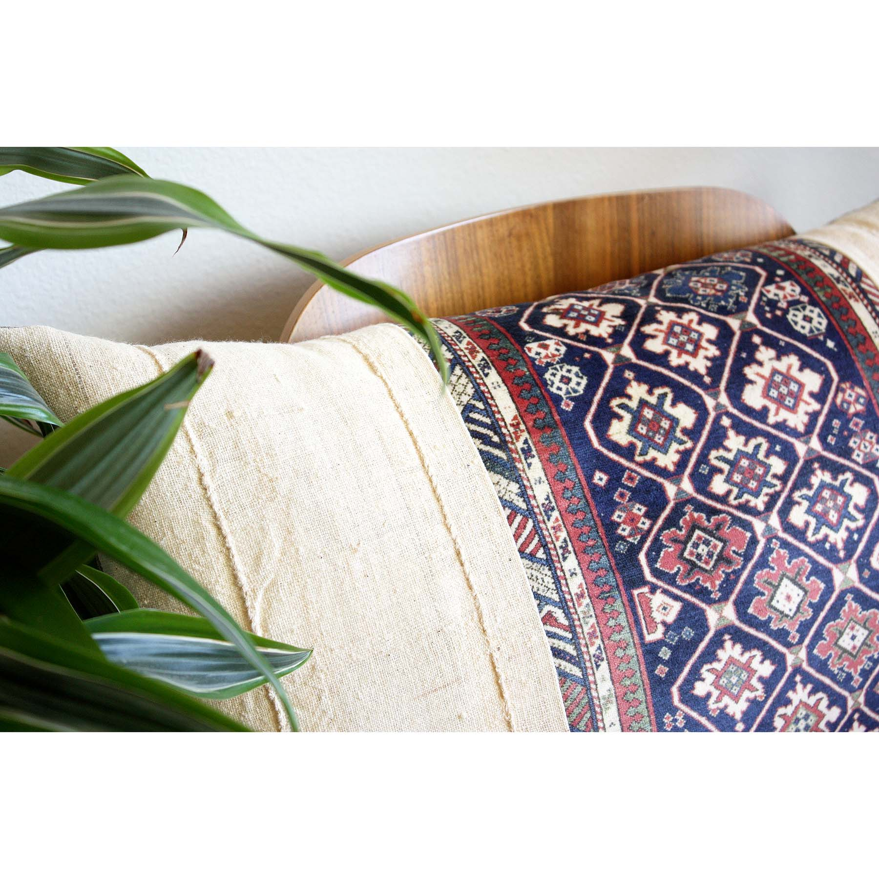 15x25 Lumbar - White Mudcloth and Rug Print Velvet Lumbar Pillow Cover -  Rose Gold Zipper