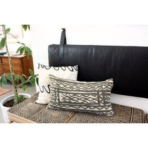 15x25 Lumbar - Labyrinth African Mudcloth Pillow Cover - Matte Black Zipper