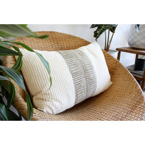 15x25 Lumbar - Vintage Beige Mudcloth and Chenille Stripe Lumbar Pillow Cover -  Gold Zipper