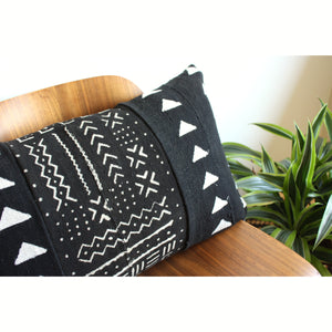 "15x25 Lumbar - Black Mudcloth Pillow Cover - ""Triangles Abstract"""