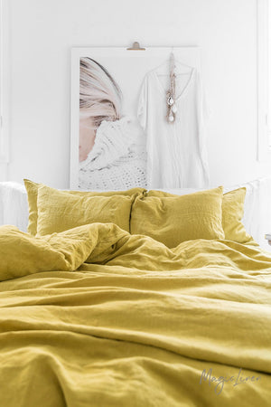 Moss Yellow - Linen Pillowcase Set - Two Covers with Ribbon Tie