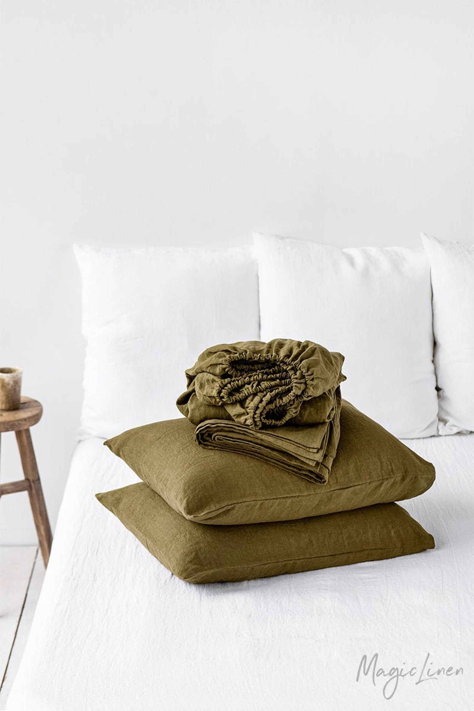 Olive - Linen Pillowcase Set - Two Covers with Ribbon Tie