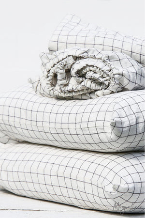 Black & White Grid - Linen Pillowcase Set - Two Covers with Ribbon Tie