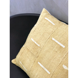 "20x20 Square - African Mudcloth Pillow Cover - ""Mustard Bars"""