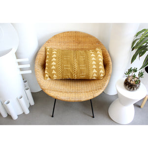 15x25 Lumbar - Mustard African Mudcloth Pillow Cover -  Gold Zipper