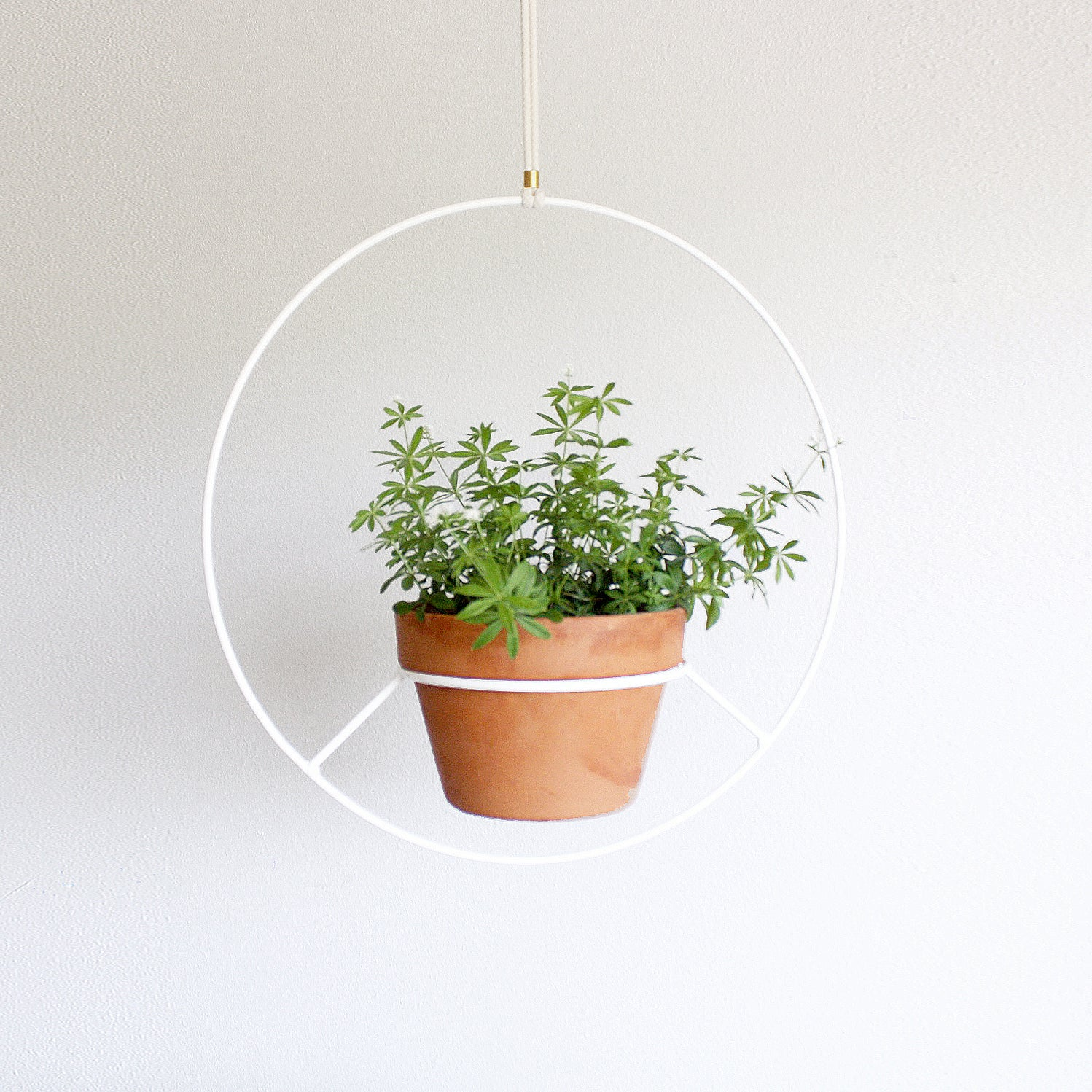 Hanging Plant Holder White Metal Norwegian Wood