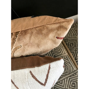 20x20 Square - Vintage Pampas Velvet Pillow Cover -  Copper Zipper