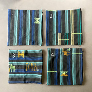 20x20 Square - African Mudcloth Pillow Cover -  Black, Aqua & Blue Stripes