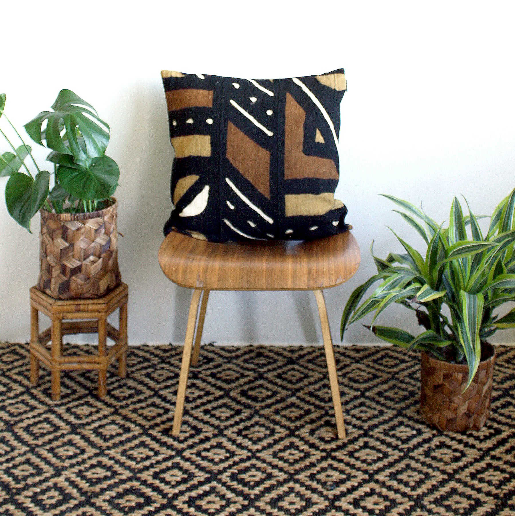 20x20 Square - Black, Mustard & Rust Mudcloth Pillow Cover - Black Linen Back, Black Zipper