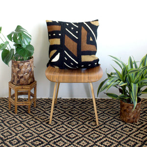 "20x20 Square - Black, Mustard & Rust Mudcloth Pillow Cover - ""Ancient Modernism"""