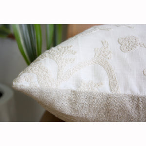 "20x20 Square - Crewel Embroidered Pillow Cover - ""Daydream Garden"""