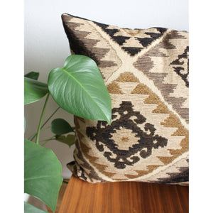 20x20 Square - Geo Earthtone Pillow Cover - Gold Zipper
