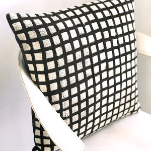 20x20 Square - Black Grid Mudcloth Pillow Cover - Gold Zipper