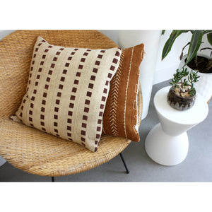 "20x20 Square - Taupe + Wine Mudcloth Pillow Cover - ""Gridlines"""