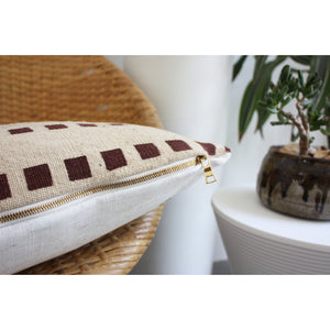 20x20 Square - Taupe + Wine Grid Mudcloth Pillow Cover - Gold Zipper
