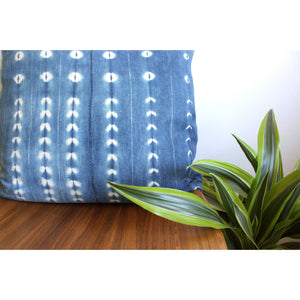 "20x20 Square - African Mudcloth Pillow Cover -  ""Medium Indigo"""