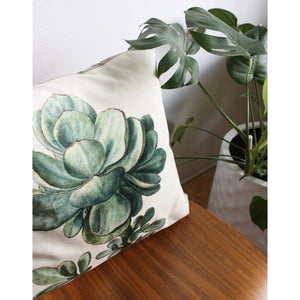 19x19 Square - Succulent Print Velvet and Linen Pillow Cover