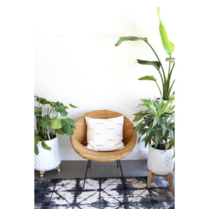 20x20 Square - White with Grey Bars - African Mudcloth Pillow Cover