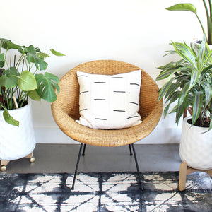 20x20 Square - White with Black Bars - African Mudcloth Pillow Cover