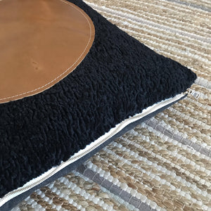 20x20 Square - Black Faux Sheepskin & Fullgrain Leather