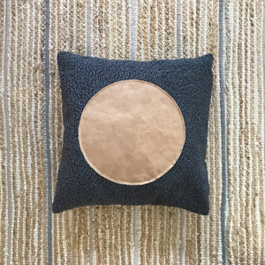 "20x20 Square - Gray Faux Sheepskin Pillow Cover - ""Leather Dot"""