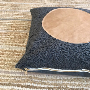 20x20 Square - Gray Faux Sheepskin & Fullgrain Leather