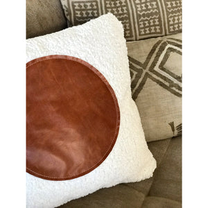 20x20 Square - Off White Faux Sheepskin & Fullgrain Leather