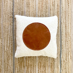 """20x20 Square - Off White Faux Sheepskin Pillow Cover - """"Leather Dot"""""""