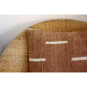"20x20 Square -  African Mudcloth Pillow Cover - ""Rust with White Bars"""