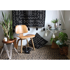 "Black Large Mud Cloth Wallhanging with Tassels - ""Earthtone Intersection"""