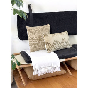Black Faux Sheepskin - Wall Hung Headboard Cushion with Leather Straps