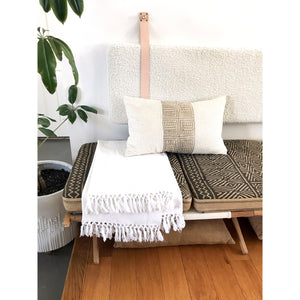 White Faux Sheepskin - Wall Hung Headboard Cushion with Leather Straps