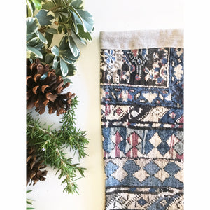 Blue & Beige Antique Rug Print Christmas Stocking