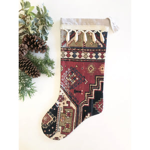 Red & Navy Antique Rug Print Christmas Stocking with Wood Tassels