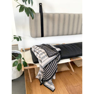 Striped Cotton - Wall Hung Headboard Cushion with Leather Straps