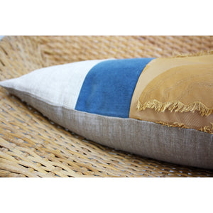 15x25 Lumbar - Ocean Sunrise Fringe Lumbar Pillow Cover - Gold Zipper