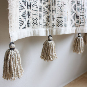 White Large Mudcloth Wallhanging Tapestry with Tassels - Random Bars