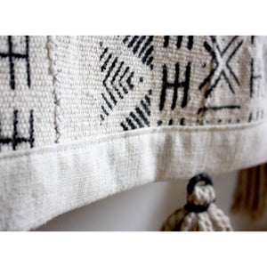 White Large Mud Cloth Wallhanging Tapestry with Tassels - Minimalist Clouds