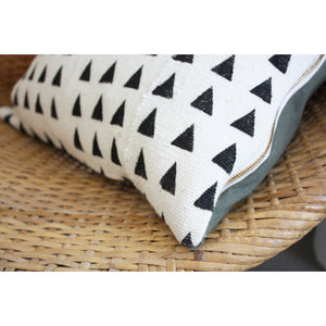 20x20 Square - Mini Triangles - African Mudcloth Pillow Cover - Gold Zipper