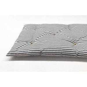 "60"" long, multiple depths - Ticking Stripe Linen Hand Button Tufted Bench Cushion"