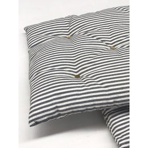 "76"" long, multiple depths - Ticking Stripe Linen Hand Button Tufted Bench Cushion"
