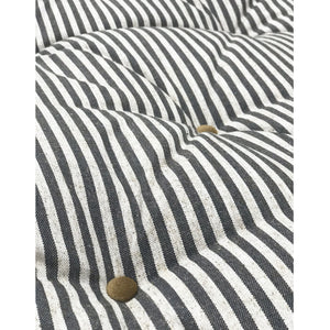 "24"" long, multiple depths- Ticking Stripe Linen Hand Button Tufted Bench Cushion"