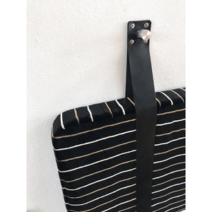 Black Striped Velvet - Wall Hung Headboard Cushion with Leather Straps