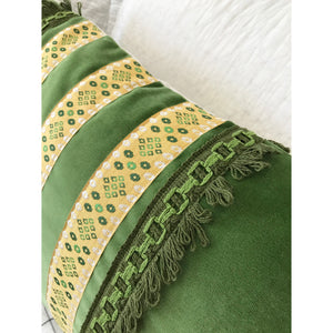 Set of TWO Pillow - Grass Green Velvet, Vintage Trims