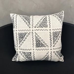 "20x20 Square - White African Mudcloth Pillow Cover - ""Isosceles Triangle"""