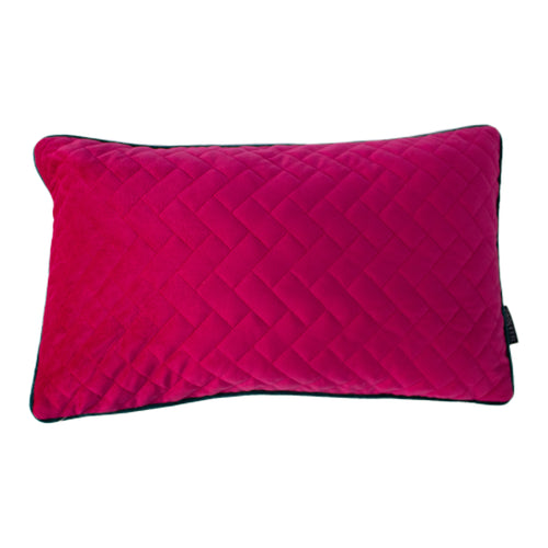 Image of the Tetris Rectangular Quilted Cuhion Cover | Hot Pink/Teal | Paoletti