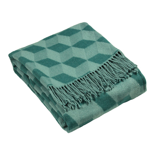 Image of the Aspect Geometric Fringed Throw | Teal | Essentials