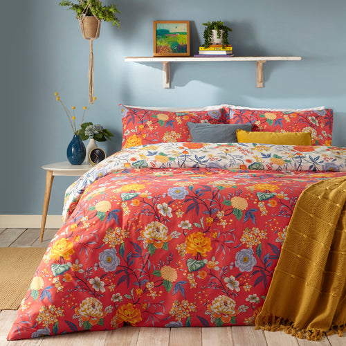 Image of the Azalea Floral Duvet Cover Set | Red | furn.