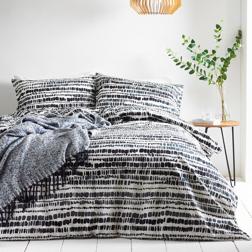 Image of the Brushstrokes Inked Duvet Cover Set | Ink | The Linen Yard