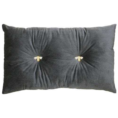 Image of the Bumble Velvet Ready Filled Cuhion | Charcoal | Paoletti